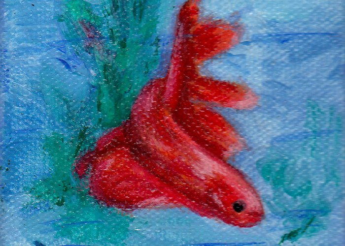 Betta Fish Painting Greeting Card featuring the painting Little Red Betta Fish by Brenda Thour