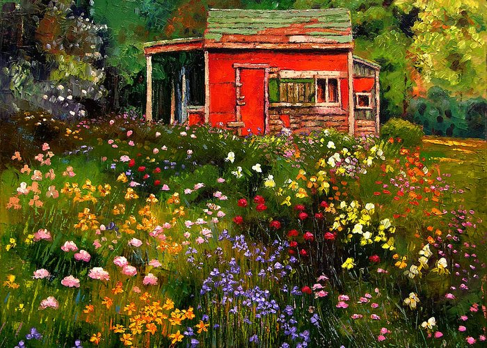 Flower Garden Greeting Card featuring the painting Little Red Flower Shed by John Lautermilch