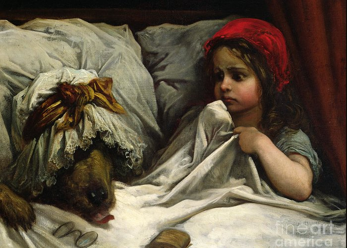 Wolf; Disguise; Child; Girl; Fairy Tale; Story; Glasses; Bed; Nightcap; Fear Greeting Card featuring the painting Little Red Riding Hood by Gustave Dore