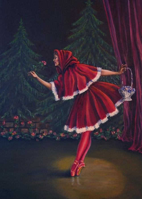 Dance Greeting Card featuring the painting Little Red Riding-hood by Maren Jeskanen