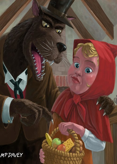Nursery Greeting Card featuring the painting Little Red Riding Hood With Nasty Wolf by Martin Davey