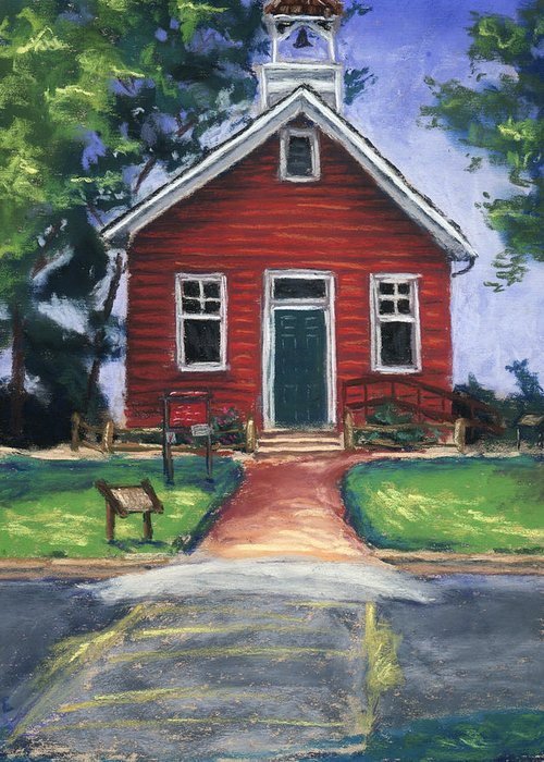 Little Red Schoolhouse Greeting Card featuring the pastel Little Red Schoolhouse Nature Center by Christine Camp