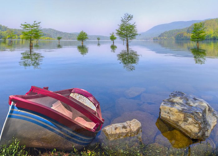 Appalachia Greeting Card featuring the photograph Little Rowboat by Debra and Dave Vanderlaan