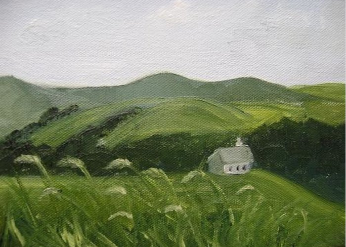Landscape Greeting Card featuring the painting Little Schoolhouse On The Hill by Toni Berry
