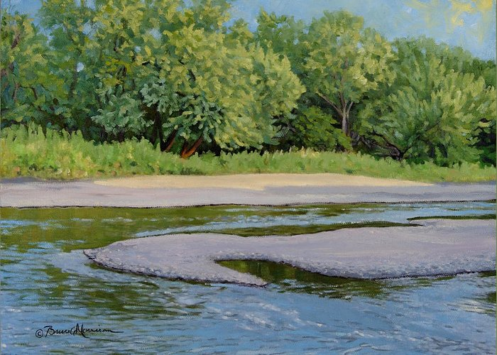 Summer Landscape Greeting Card featuring the painting Little Sioux Sandbar by Bruce Morrison