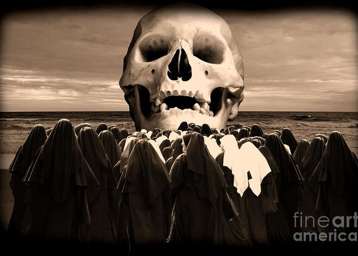 Human Skull Greeting Card featuring the photograph Little Sisters Of The Divine Skull by Wayne Higgs