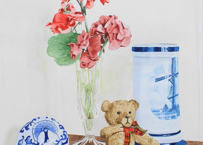 Still Life Greeting Card featuring the painting Little Ted by Frank Hamilton