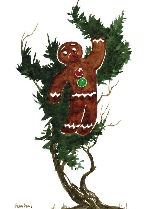 Gingerbread Man Greeting Card featuring the painting Little Tree 97 by Sean Seal
