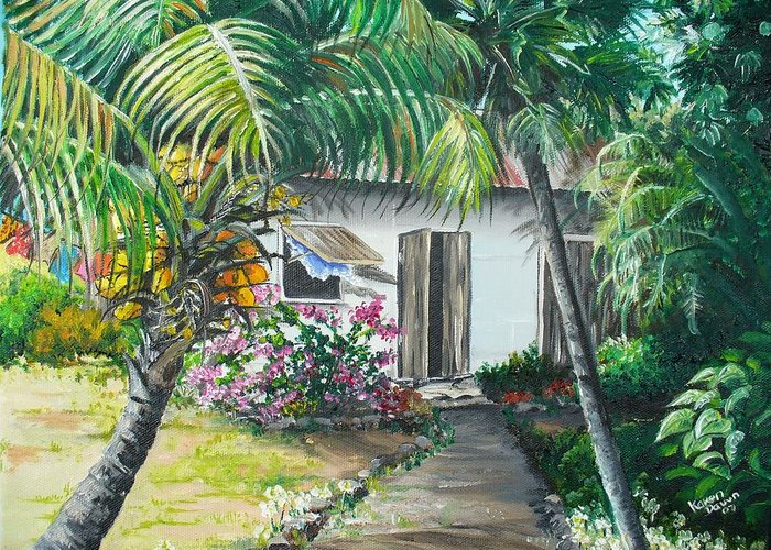 Caribbean Painting Typical Country House In Trinidad And The Islands With Coconut Tree Tropical Painting Greeting Card featuring the painting Little West Indian House 2...sold by Karin Dawn Kelshall- Best