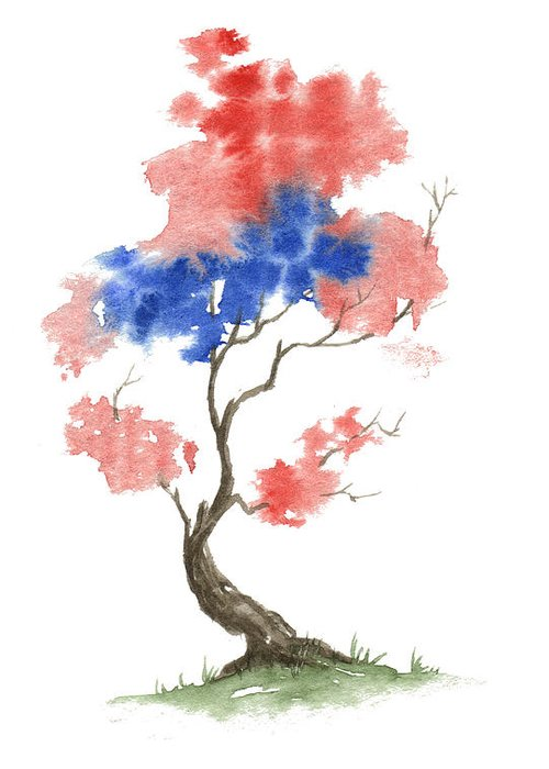 American Greeting Card featuring the painting Little Zen Tree 291 by Sean Seal