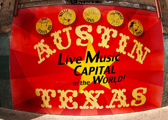 Photo Greeting Card featuring the photograph Live Music Mural Of Austin by Andrew Nourse