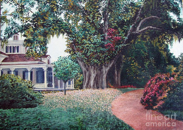 Landscape Greeting Card featuring the painting Live Oak Gardens Jefferson Island La by Todd Blanchard