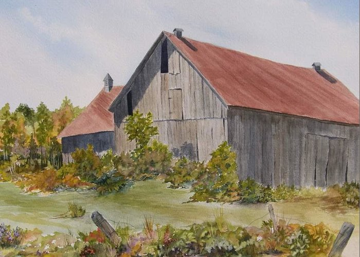 Barn Painting. Avoca Greeting Card featuring the painting Living In The Past by Jackie Mueller-Jones