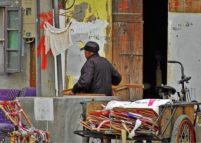 Street Scene Greeting Card featuring the photograph Living The Old Shanghai Life by Christine Till