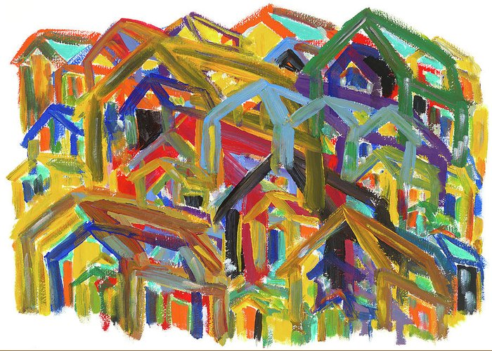 Painting Greeting Card featuring the painting Living Together by Bjorn Sjogren