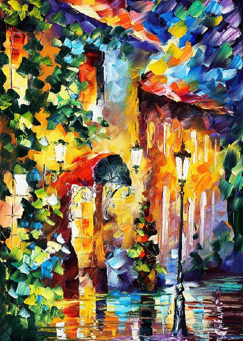 Afremov Greeting Card featuring the painting Living Town by Leonid Afremov
