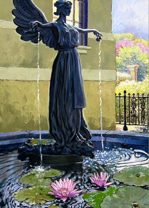 Garden Fountain Greeting Card featuring the painting Living Waters by John Lautermilch