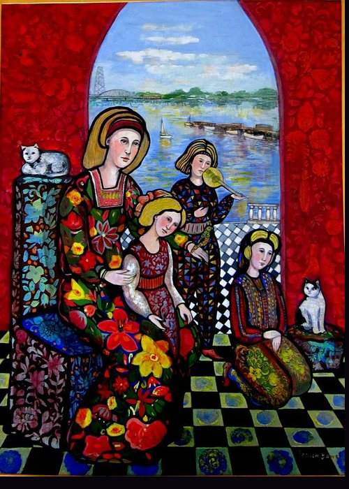 Medieval Greeting Card featuring the painting Liz Combing Madeline In Portsmouth by Marilene Sawaf