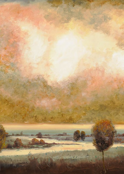Pond Greeting Card featuring the painting Lo Stagno Sotto Al Cielo by Guido Borelli