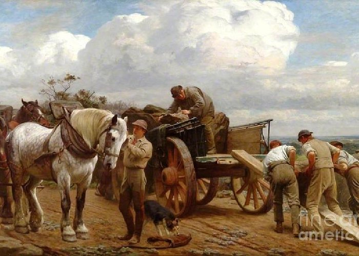 Henry Tanworth Wells - Loading At The Quarry Greeting Card featuring the painting Loading At The Quarry by MotionAge Designs