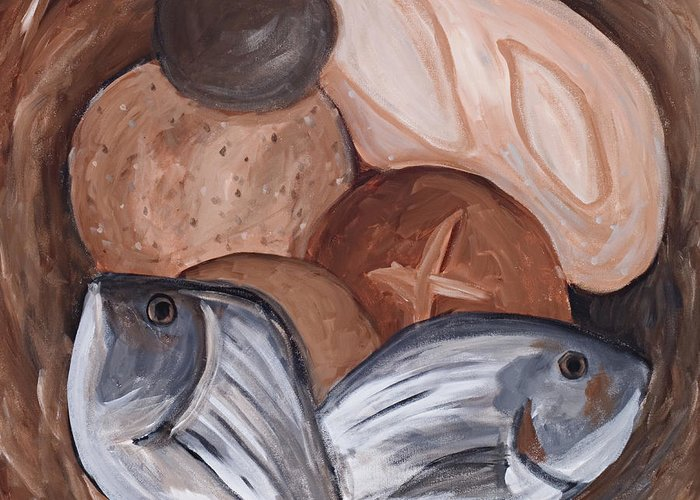 Biblical Greeting Card featuring the painting Loaves And Fishes by Chelle Fazal