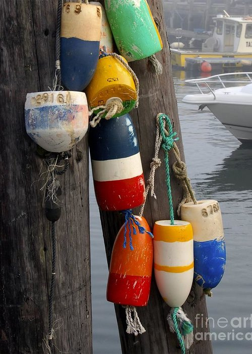 Lobster Greeting Card featuring the photograph Lobster Buoy At Water Taxi Pier by Faith Harron Boudreau