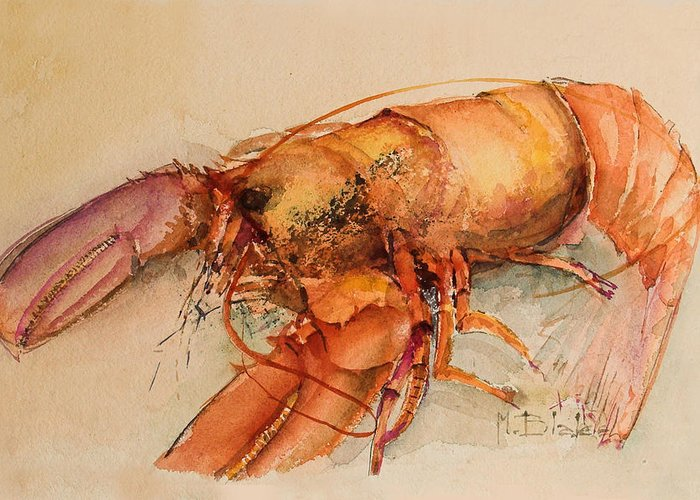 Food Greeting Card featuring the painting Lobster by Blake Originals - Marjorie and Beverly