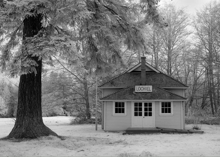 Infrared Greeting Card featuring the photograph Lochiel School House by Bill Kellett