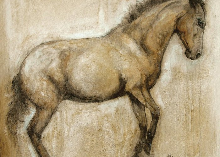 Horse Art Greeting Card featuring the painting Lock And Load by Mary Leslie