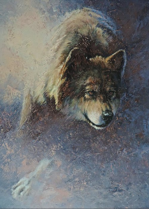 Wolves Greeting Card featuring the painting Locked On Target by Mia DeLode
