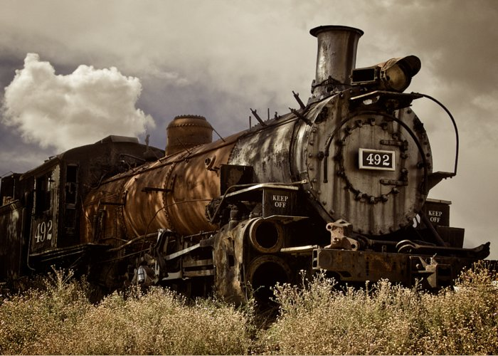 Old Southwest Greeting Card featuring the photograph Locomotive 492, Chama, New Mexico by Zayne Diamond Photographic