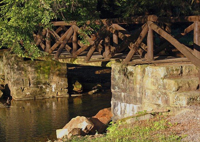 Log Bridge Greeting Card featuring the photograph Log Bridge by Darlene Bell