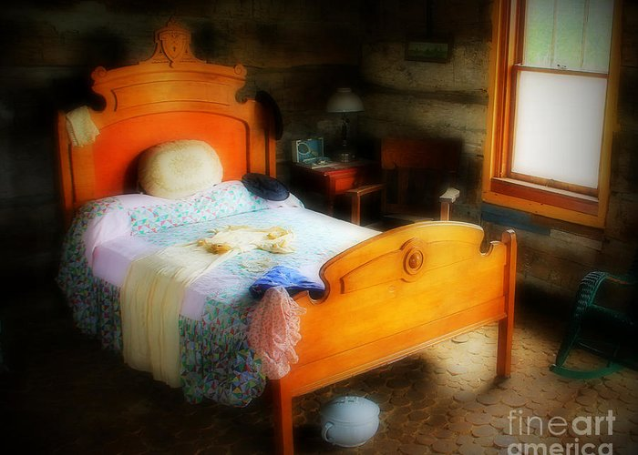 Bed Greeting Card featuring the photograph Log Cabin Bedroom by Perry Webster