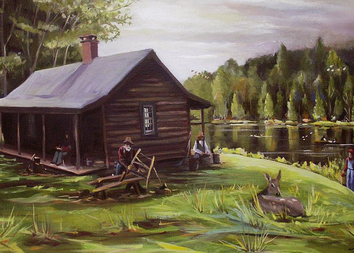 Log Cabin By The Lake Greeting Card featuring the painting Log Cabin By The Lake by Nancy Griswold