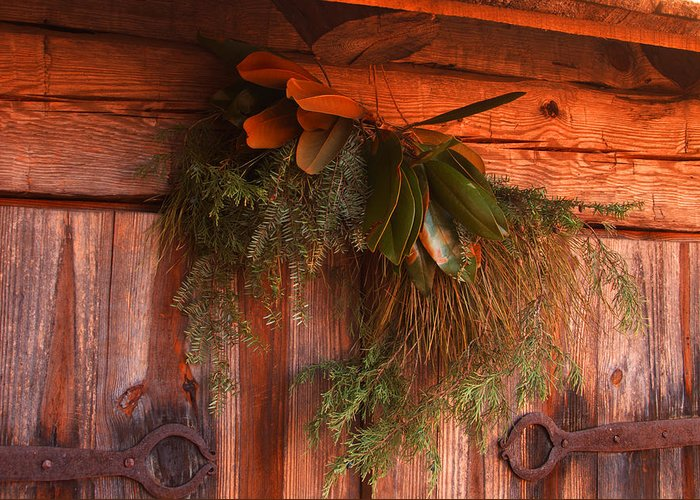 Log Cabin Greeting Card featuring the photograph Log Cabin Christmas Decor by Jason Wade