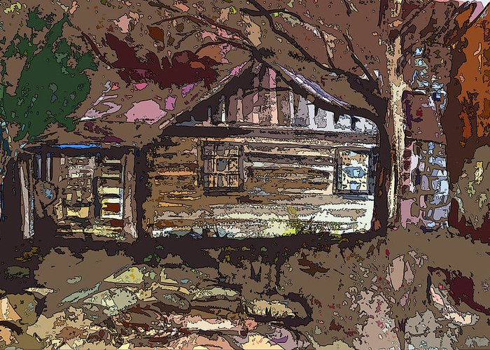 Log Cabin Greeting Card featuring the painting Log Cabin In Autumn by Mindy Newman