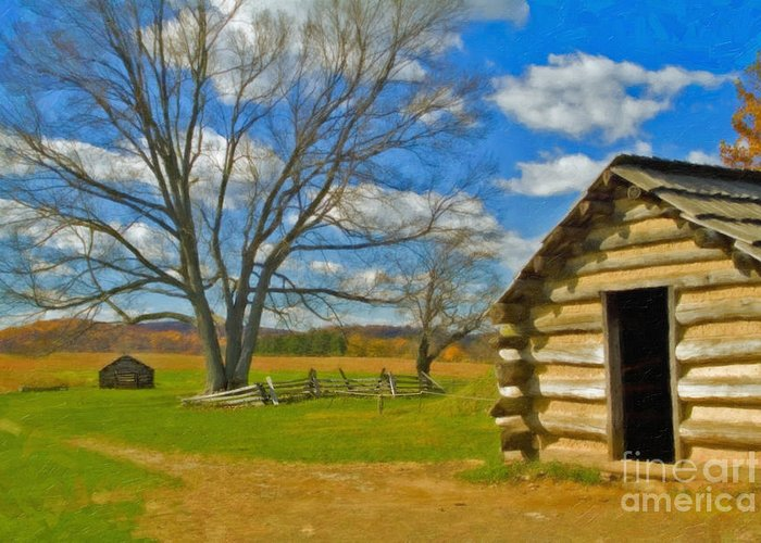 Valley Forge Greeting Card featuring the photograph Log Cabin Valley Forge Pa by David Zanzinger