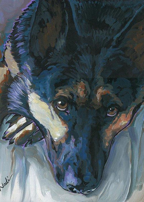 German Shepherd Dog Greeting Card featuring the painting Logan by Nadi Spencer