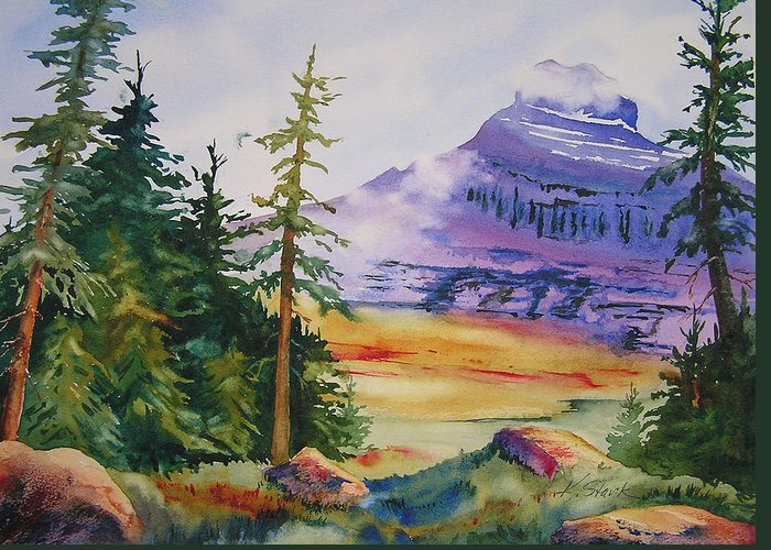 Landscape Greeting Card featuring the painting Logan Pass by Karen Stark