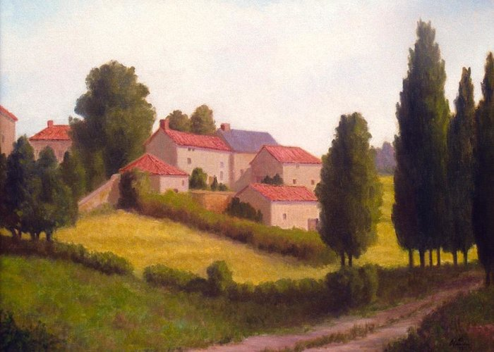 Landscape Near Chateau Pioget Loire Valley  Francelandscape Painted On Location Nee Greeting Card featuring the painting Loire Valley Apres Midi by David Olander