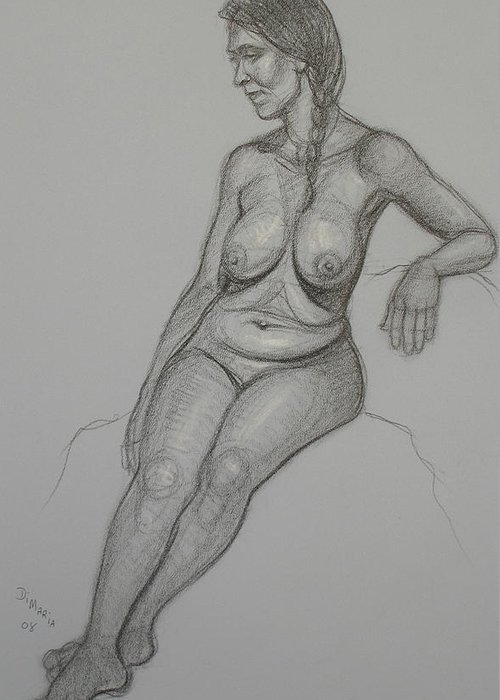 Realism Greeting Card featuring the drawing Loma 1 by Donelli DiMaria