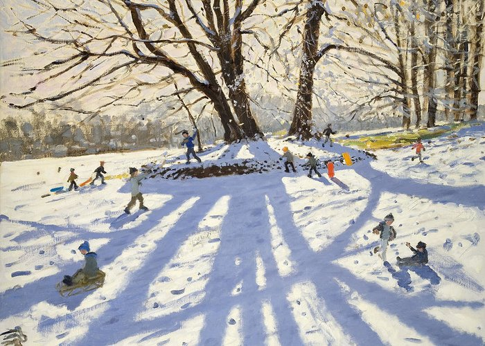 Winter Greeting Card featuring the painting Lomberdale Hall Derbyshire by Andrew Macara