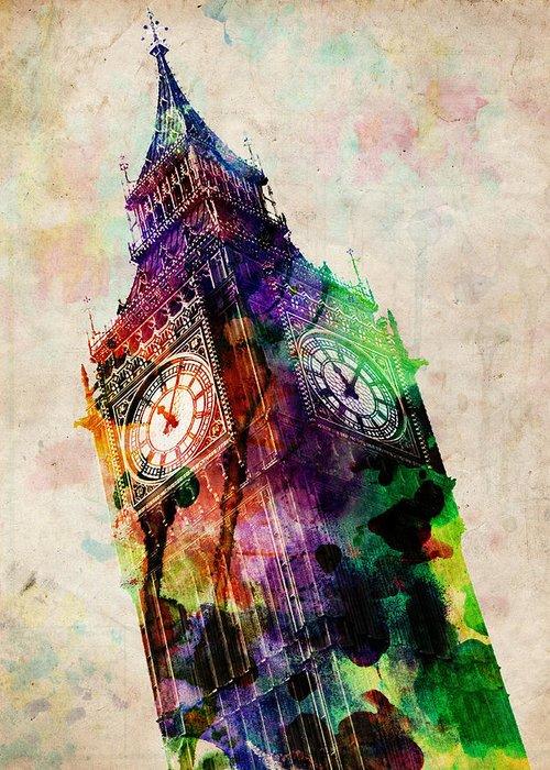 London Greeting Card featuring the digital art London Big Ben Urban Art by Michael Tompsett