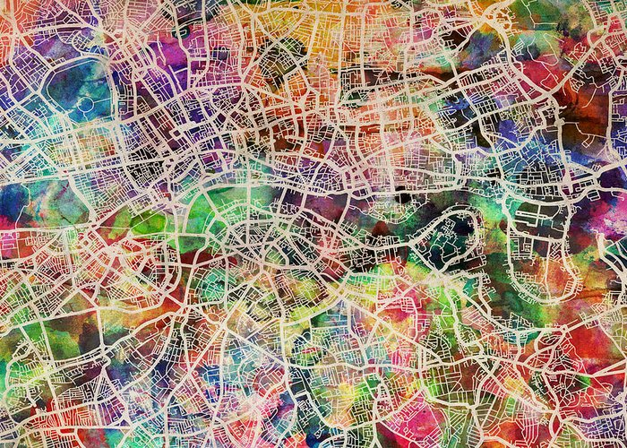 London Greeting Card featuring the digital art London Map Art Watercolor by Michael Tompsett