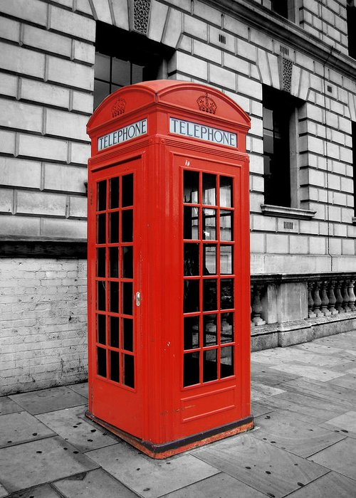 London Greeting Card featuring the photograph London Phone Booth by Rhianna Wurman