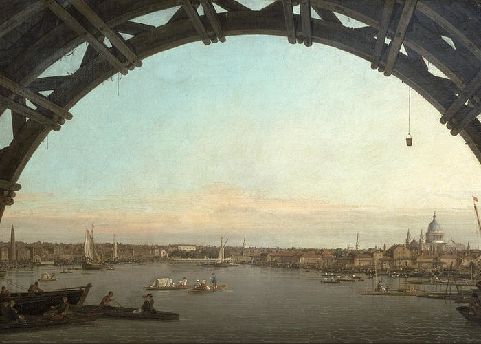 London Greeting Card featuring the painting London Seen Through An Arch Of Westminster Bridge by Canaletto