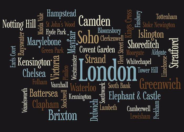 London Map Greeting Card featuring the digital art London Text Map by Michael Tompsett