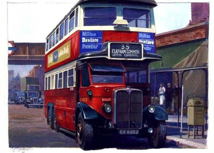 London Greeting Card featuring the painting London Transport Renown by Mike Jeffries