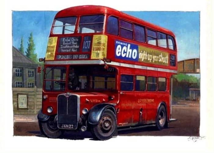 London Greeting Card featuring the painting London Transport Rt by Mike Jeffries