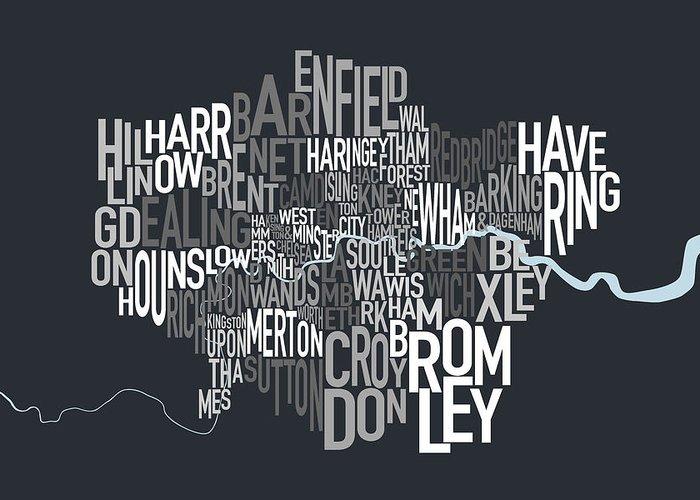 London Greeting Card featuring the digital art London Uk Text Map by Michael Tompsett